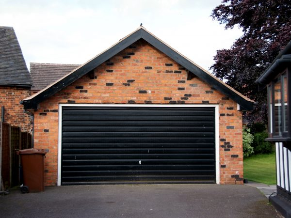 Black garage door